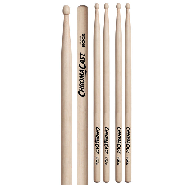 ChromaCast ROCK USA Natural Hickory Drumsticks, 3 Pairs