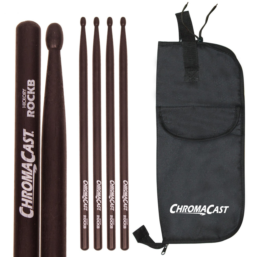 ChromaCast ROCK USA Black Hickory Wood Tipped Drumsticks, 3 Pairs with Drumstick Bag
