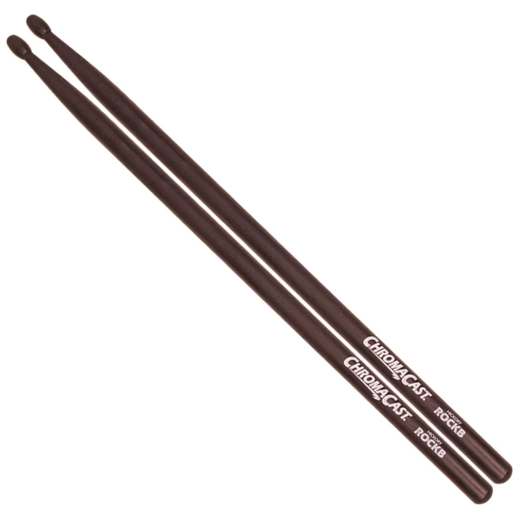 ChromaCast ROCKB Wood Tip USA Hickory Drumsticks, Black