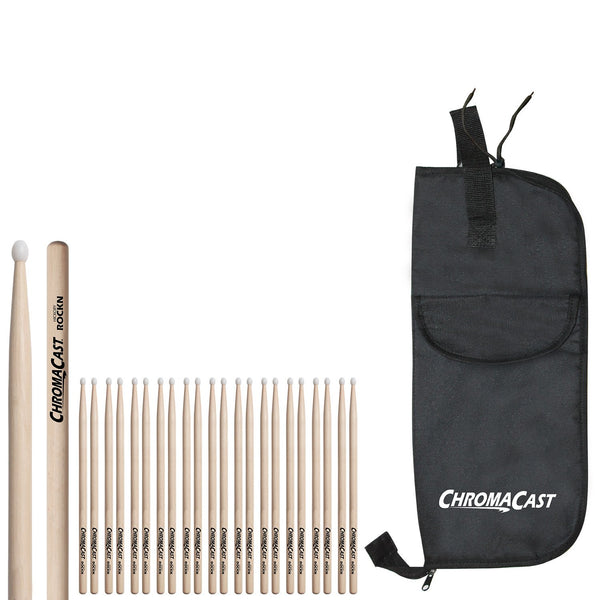 ChromaCast ROCKN USA Hickory Drumsticks, 12 Pairs with Drumstick Bag