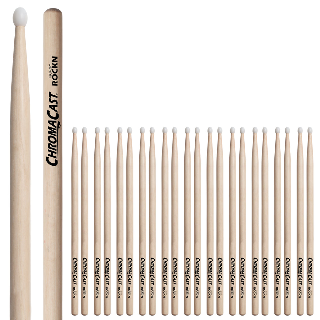 ChromaCast ROCK USA Hickory Nylon Tipped Drumsticks, 12 Pairs