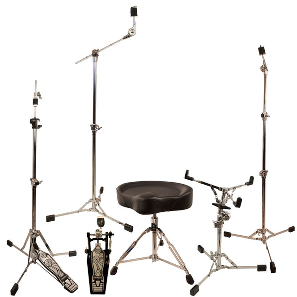 ChromaCast Retro Series Double Braced Drum Hardware Pack with Pro Series Chain Drive Pedal & Throne