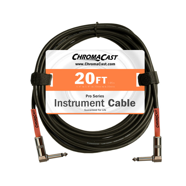 ChromaCast Pro Series Instrument Cable, Angle - Angle, Sunset Orange, 20 foot