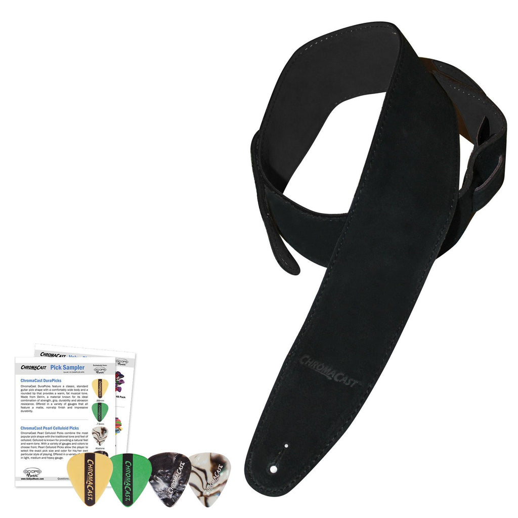 ChromaCast Black Suede Guitar Strap with four pick sampler