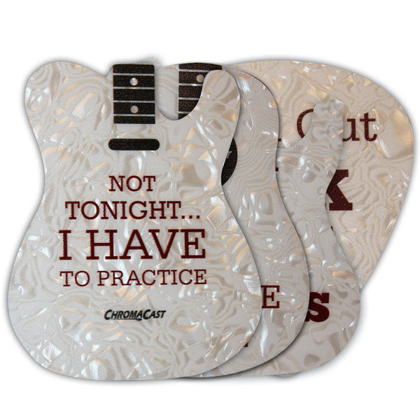 ChromaCast Assorted Guitar and Pick Shaped Drink Coasters(Pack 2), 4-Pack