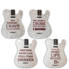ChromaCast Tele Guitar Body Style Drink Coasters, Pack of 4