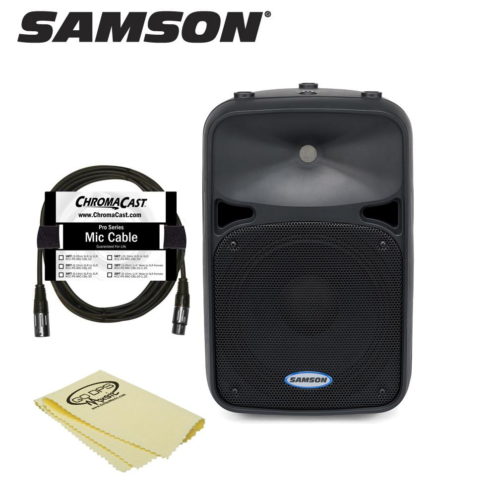 Samson Auro D210 2-Way Active Loudspeaker (SAR0D210A) - Includes ChromaCast 25ft Mic Cable and GoDpsMusic Dust Cloth