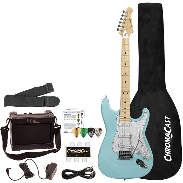 Sawtooth ES Series ST Style Electric Guitar Beginner's Guitar with Accessories, Daphne Blue with Pearl White Pickguard