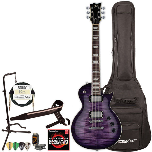 LTD EC256 Solid-Body Flame Maple Top Electric Guitar with ChromaCast Gig Bag & Accessories, See Thru Purple Sunburst