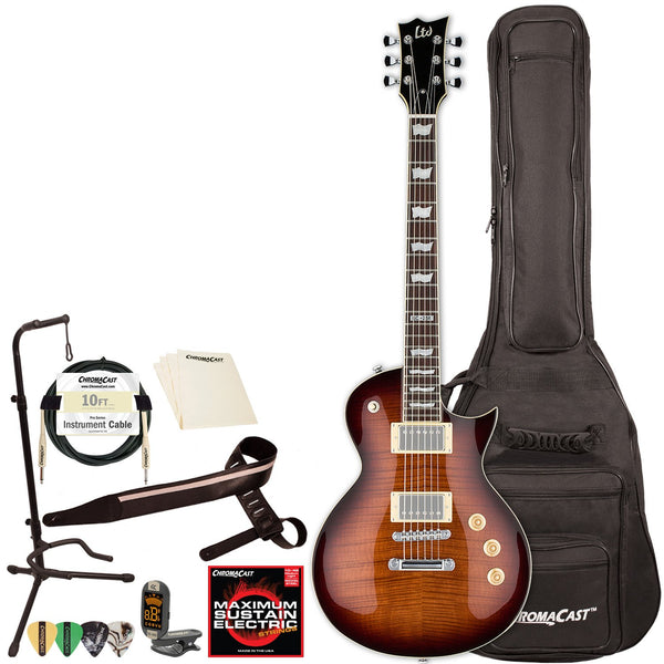 LTD EC256 Solid-Body Flame Maple Top Electric Guitar with ChromaCast Gig Bag & Accessories, Dark Brown Sunburst