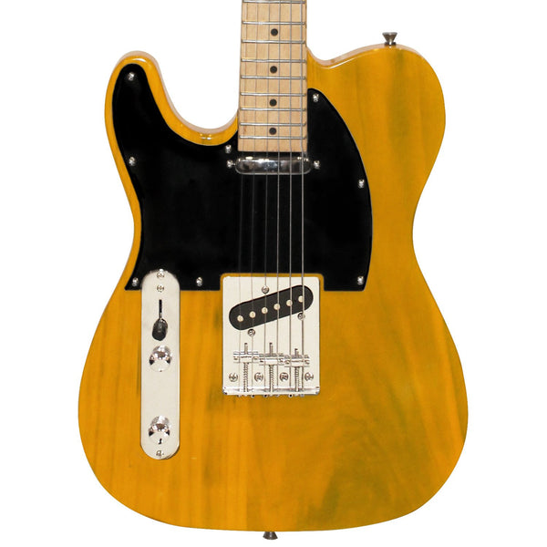 Sawtooth ET Series Left-Handed Electric Guitar, Butterscotch with Black Pickguard