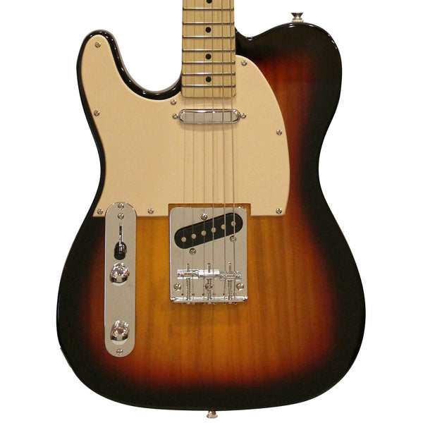 Sawtooth ET Series Left-Handed Electric Guitar, Sunburst with Aged White Pickguard