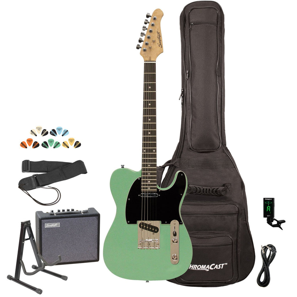 Sawtooth ST-ET-SGRB-KIT-3 Electric Guitar Kit, Surf Green with Black Pickguard & Accessory Bundle