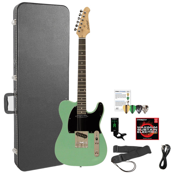 Sawtooth ST-ET-SGRB-KIT-6 Electric Guitar Kit, Surf Green with Black Pickguard & Accessories