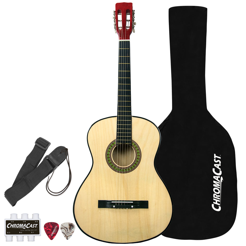 Rise by Sawtooth Full Size Steel String Acoustic Guitar Beginner's Pack, Natural