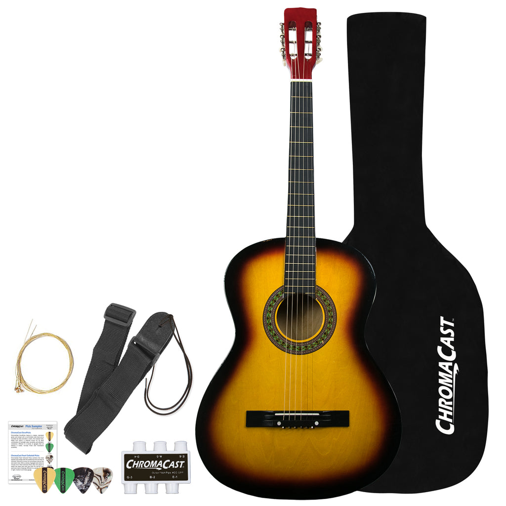Rise by Sawtooth Full Size Steel String Acoustic Guitar Beginner Pack, Sunburst