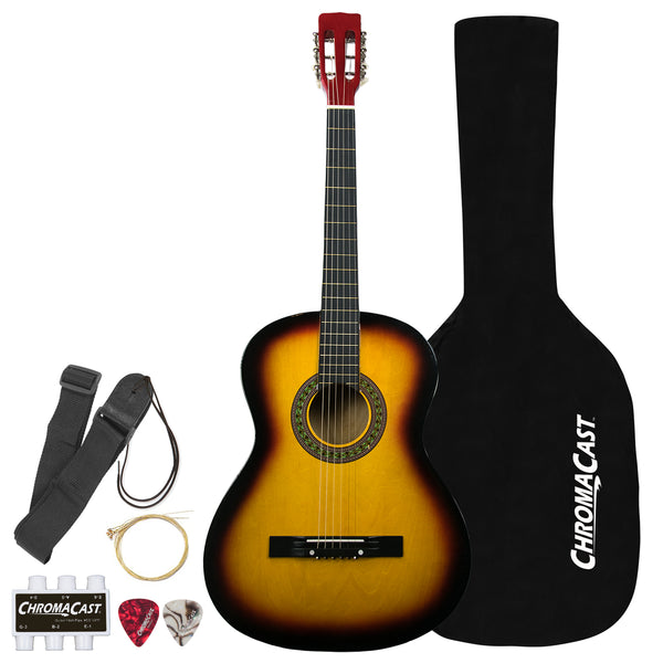 Rise by Sawtooth Full Size Steel String Acoustic Guitar Beginner's Pack, Sunburst