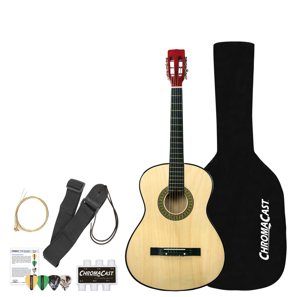Rise by Sawtooth Petite Size Steel String Acoustic Guitar Beginner Pack,  Natural