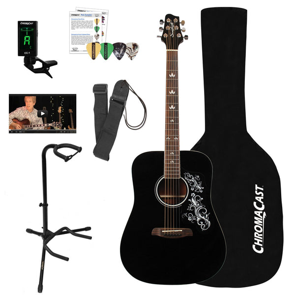 Sawtooth Acoustic Dreadnought Guitar with Black Pickguard & ChromaCast Accessories, Black