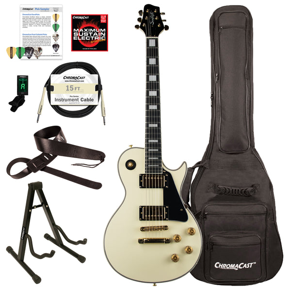 Sawtooth Heritage Series Maple Top Electric Guitar with ChromaCast Gig Bag & Accessories, Antique White