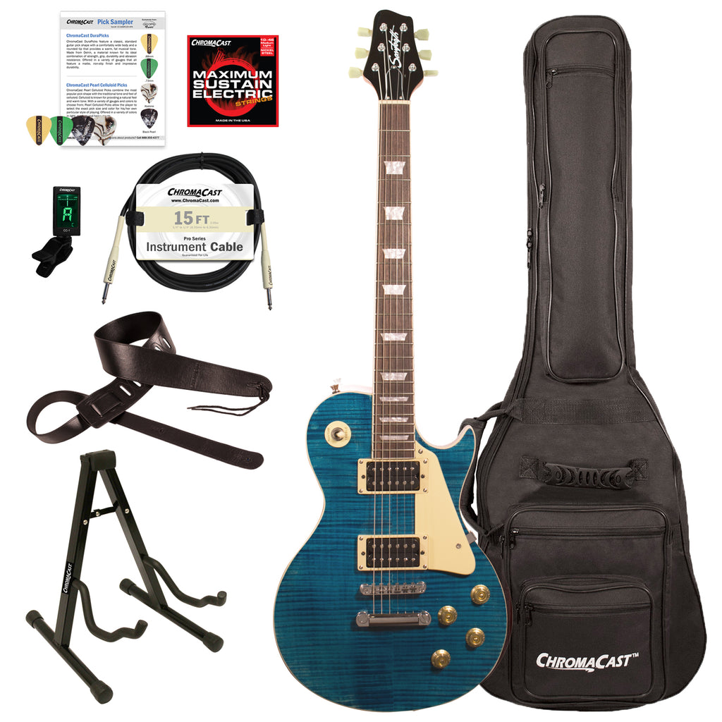 Sawtooth Heritage Series Right-Handed Flame Maple Top Electric Guitar with ChromaCast Gig Bag & Accessories, Cali Blue Flame