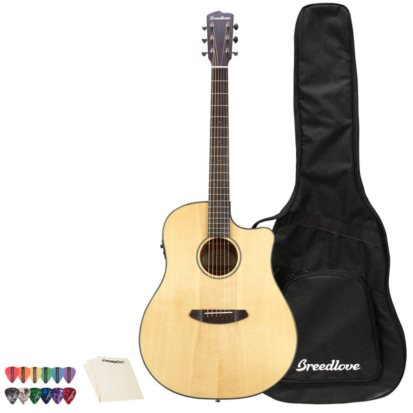 Breedlove Discovery Dreadnought CE Sitka-Mahogany Acoustic-Electric Guitar with ChromaCast 12 Pick Sampler & Polish Cloth