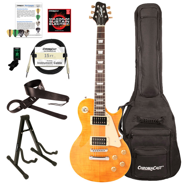 Sawtooth Heritage Series Right-Handed Flame Maple Top Electric Guitar with ChromaCast Gig Bag & Accessories, Tuscan Flame