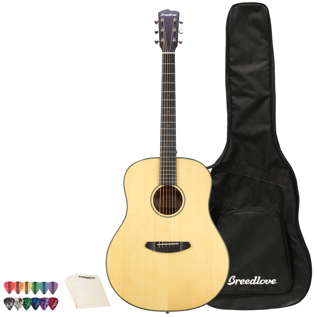 Breedlove Discovery Dreadnought Acoustic Guitar with ChromaCast 12 Pick Sampler and Breedlove Gig Bag