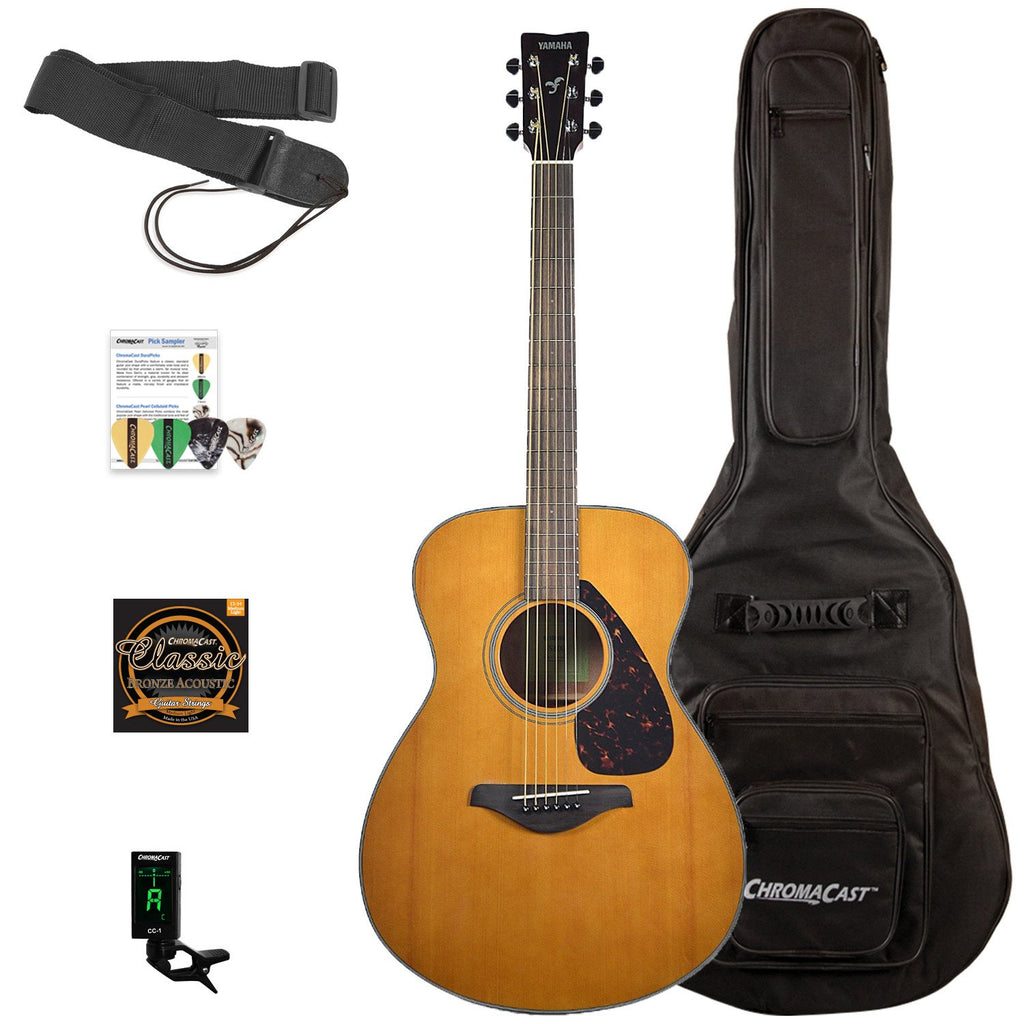Yamaha FS800-T Concert Acoustic Limited Edition Tinted Natural Top Guitar with with ChromaCast Padded Gig Bag & Accessories