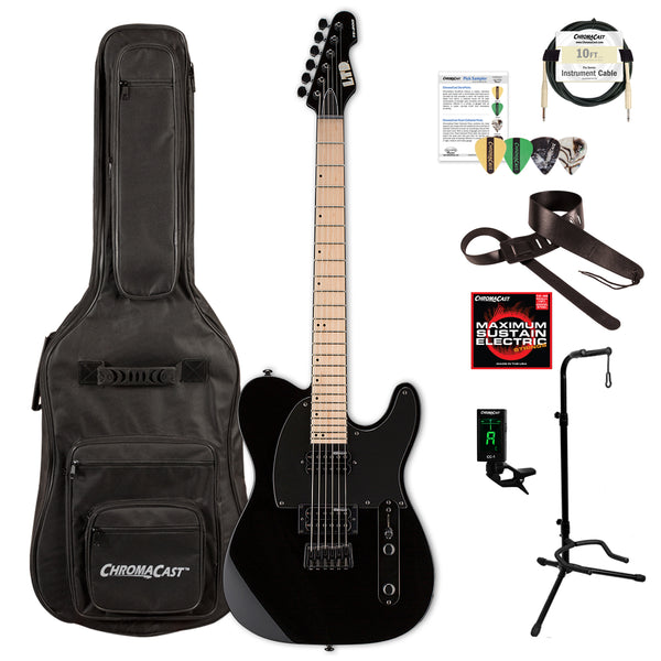 ESP TE Series TE-200 MAPLE Electric Guitar with Gig Bag & Accessories, Black