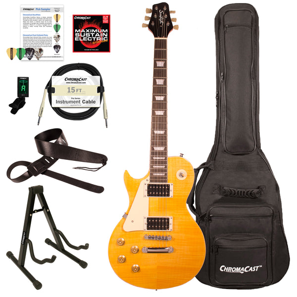 Sawtooth Heritage Series Left-Handed Flame Maple Top Electric Guitar with ChromaCast Gig Bag & Accessories, Tuscan Flame