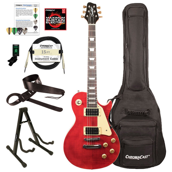 Sawtooth Heritage Series Flame Maple Top Electric Guitar with ChromaCast Gig Bag & Accessories, Cherry Flame