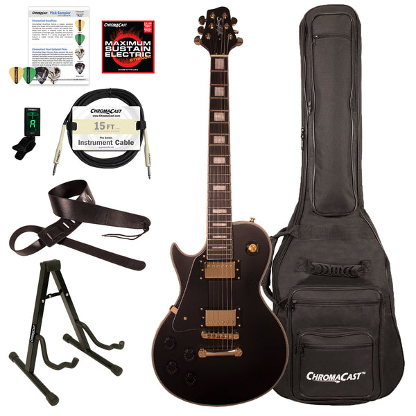 Sawtooth Heritage Series Left-Handed Maple Top Electric Guitar with ChromaCast Gig Bag & Accessories, Satin Black