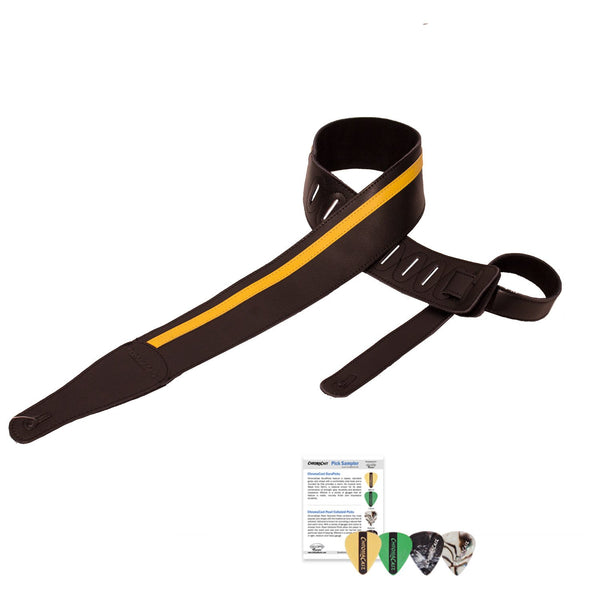 ChromaCast Speed Series Leather Racing Stripe Guitar Strap with 4 Pick Sampler, Black with Yellow