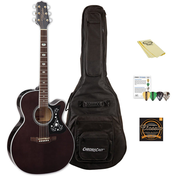 Takamine GN75CE TBK NEX Cutaway Acoustic-Electric Guitar with ChromaCast Gig Bag & Accessories, Transparent Black