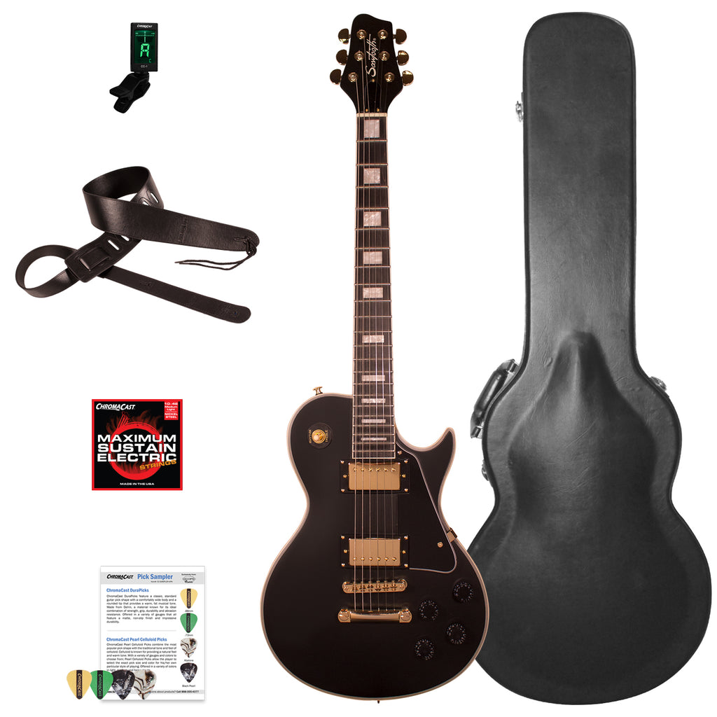 Sawtooth Heritage Series Right-Handed Maple Top Electric Guitar with ChromaCast Pro Series LP Body Style Hard Case & Accessories, Satin Black