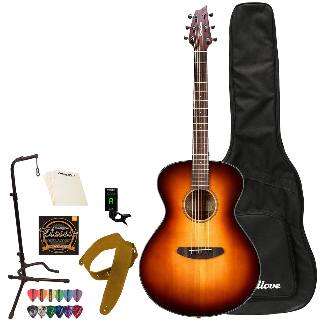 Breedlove Discovery Concert Acoustic Guitar with Gig Bag & Accessories, Sunburst
