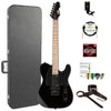 ESP TE Series TE-200 MAPLE Electric Guitar with Hard Case & Accessories, Black
