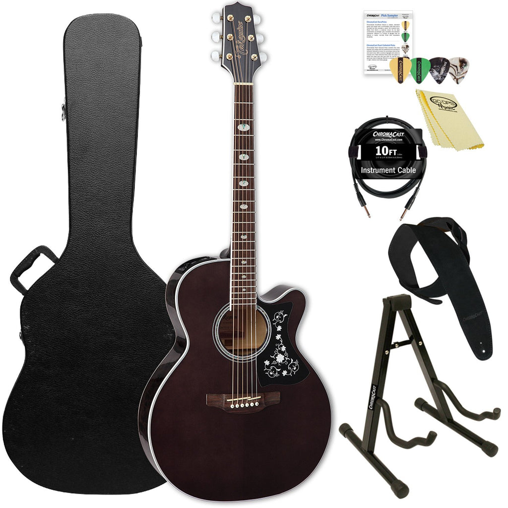 Takamine GN75CE TBK NEX Cutaway Acoustic-Electric Guitar with ChromaCast Hard Case & Accessories, Transparent Black