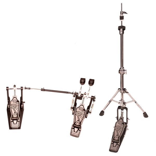 ChromaCast Value Series Double Braced Two Legged Adjustable Hi Hat Stand with Chain Drive Double Bass Pedal