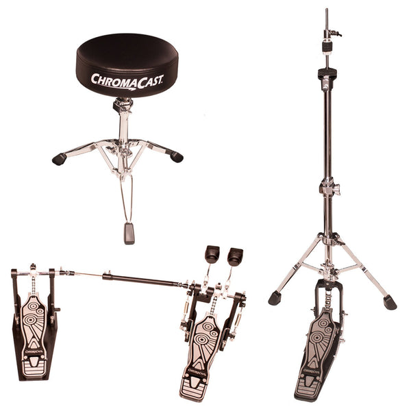 ChromaCast Double Braced Two Legged Adjustable Hi Hat Stand with Chain Drive Double Bass Pedal and Double Braced Drum Throne