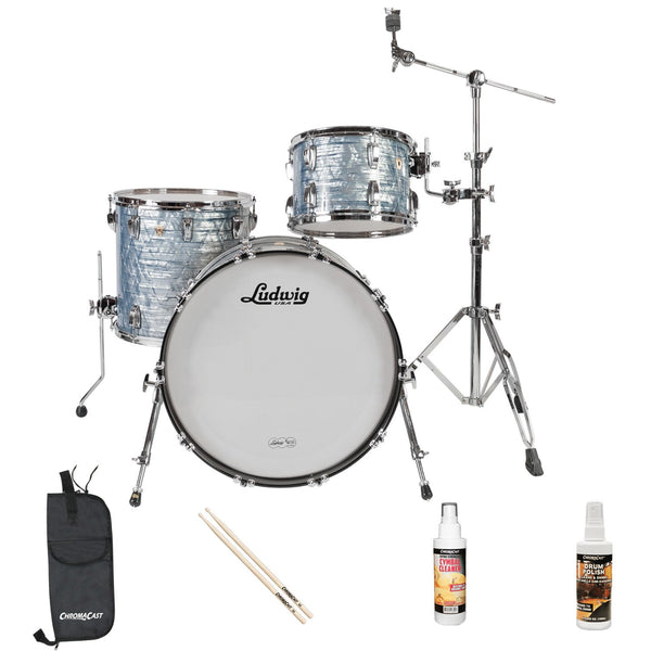 Ludwig USA Classic Maple 3 Pc Drum Kit in Sky Blue Pearl (L8303AV52WC) with ChromaCast Accessories