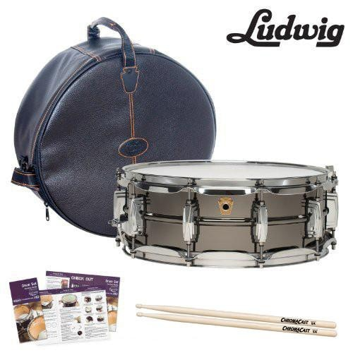 Ludwig Smooth Shell Black Beauty 5x14 w/ Imperial Lugs Snare Drum Kit (LB416) - Includes: Gig Bag, Drumsticks & Survival Guide