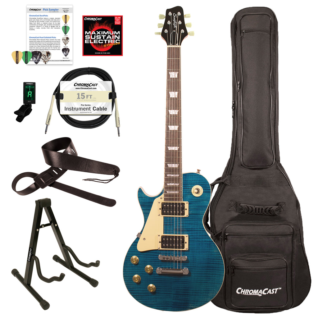 Sawtooth Heritage Series Left-Handed Flame Maple Top Electric Guitar with ChromaCast Gig Bag & Accessories, Cali Blue Flame