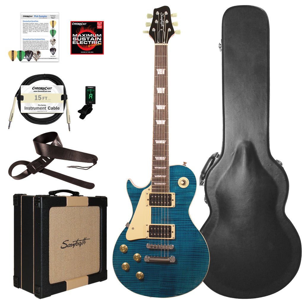 Sawtooth Heritage Series Left-Handed Flame Maple Top Electric Guitar with ChromaCast Pro Series LP Body Style Hard Case, 25 Watt Amp, & Accessories, Cali Blue Flame