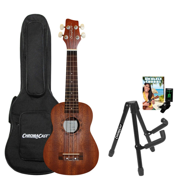 Sawtooth Mahogany Soprano Ukulele with Ukulele Quick Start Guide & ChromaCast Accessories