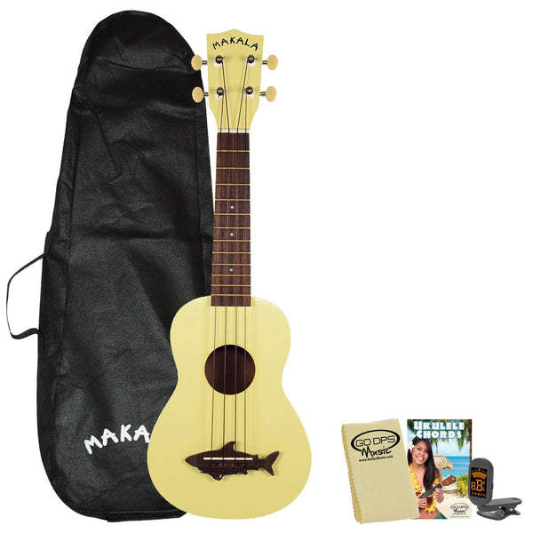 Kala Makala MK-SS Shark Soprano Ukulele Yellow Coral with Kala Bag, ChromaCast Tuner, GoDpsMusic Chord Guide and Polish Cloth