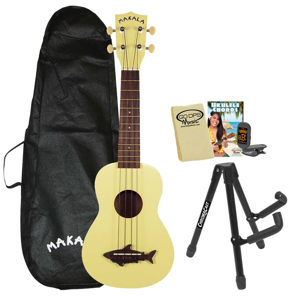 Kala Makala MK-SS Shark Soprano Ukulele Yellow Coral with Kala Bag, ChromaCast Stand, Tuner, GoDpsMusic Chord Guide and Polish Cloth