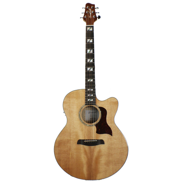 Sawtooth Solid Spruce Top Jumbo Cutaway 6 String Acoustic Electric Guitar with Flame Maple Back and Sides