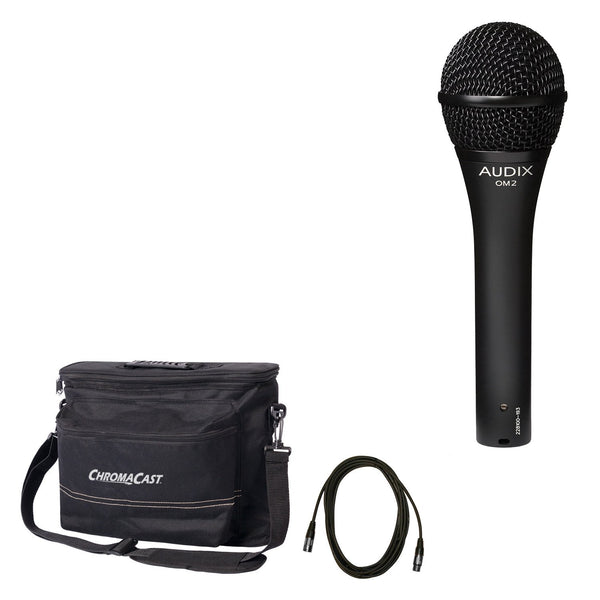 Audix OM2 Dynamic Vocal Microphone with ChromaCast 18.5' Mic Cable & Musician's Gear Bag